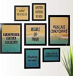 Los Quadros Kit de Quadros Decorativos 7 Peças Frases Praia Los Quadros Preto