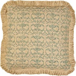 Zentique Repeat Square Burlap Pillow with Jute Brush Fringe, 20-Inch, Blue Damask