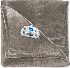 Serta Silky Plush Heated Blanket - Sand - Size:Queen