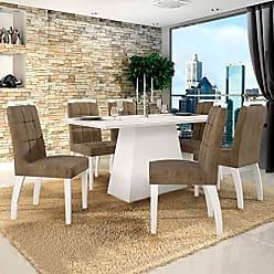 Leifer Conjunto Sala de Jantar Mesa Tampo de Vidro Branco 6 Cadeiras Málaga Leifer Branco/Capuccino