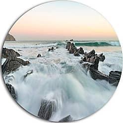 DESIGN ART Designart MT10499 C23 Sunrise at The Bay of Biscay Modern Beach Disc, 23 x 23, Blue