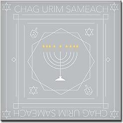 Ready2HangArt Ready2hangart Chag Urim Sameach Hanukkah Canvas Wall Art, 20 x 20, Grey