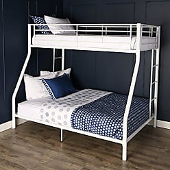 Walker Edison Twin-Over-Full Metal Frame and Ladder Bunk Bed, White