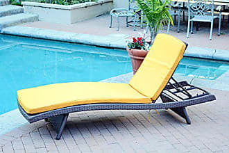 Jeco WL-1_CL1-FS025 Wicker Adjustable Chaise with Yellow Cushion Espresso