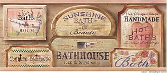 Brewster Home Fashions Bath House Vintage Bath Wall Border - 418B80962