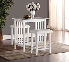 Round Hill Furniture 3-Piece Counter Height Dining Set with saddleback Stools, White