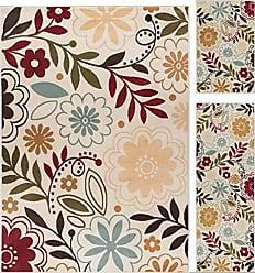 Tayse Skyler Contemporary Floral Beige 3-Piece Area Rug Set, 3-Piece Set