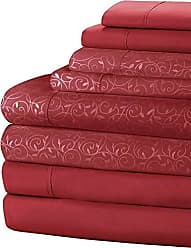 Home Dynamix New York Loft 8 Piece Sheet Set (2 Complete Sets of Sheets-One Vine Pattern & One Solid) Burgundy Queen Double Brushed Microfiber