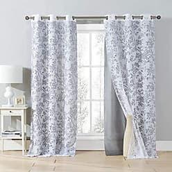 Duck River Textile Kensie - Heidilee Floral Leaf Sheer Burnout Grommet Top Window Curtains for Living Room & Bedroom - Assorted Colors - Set of 2 Panels (40 X 84 Inch - Grey)