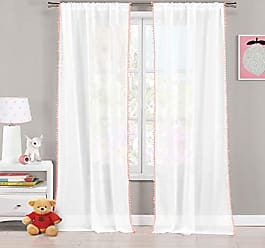 Duck River Textile Lala + Bash - Home Fashion PomPom Trim Pole Top Window Curtains for Living Room & Bedroom - Assorted Colors - Set of 2 Panels (38 X 84 Inch - Pink)