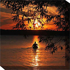 West of the Wind All-Weather Art Print, 24-Inch, Kayak Sunset