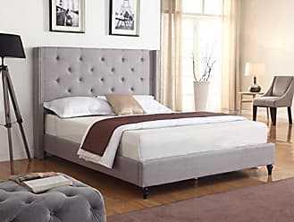 Best Master Furniture YY129 Vero Tufted Wingback Platform Bed, Cal. King Grey