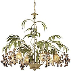 Elk Lighting ELK Lighting Huarco 6-Light Chandelier, Seashell/Amber Glass