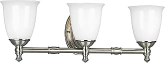 PROGRESS P3029-09 Delta Three-light bath bracket in Brushed Nickel finish with white opal glass