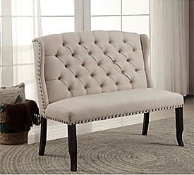 FURNITURE OF AMERICA HOMES: Inside + Out IDF-3324BK-BN Antique Black Greggory Rustic Wingback Bench