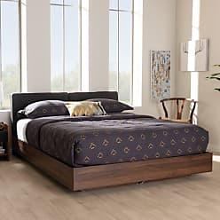 Baxton Studio Iselin Mid-Century Modern Upholstered Storage Platform Bed - SEBD11001025-DARK GREY/COLUMBIA BROWN-Q