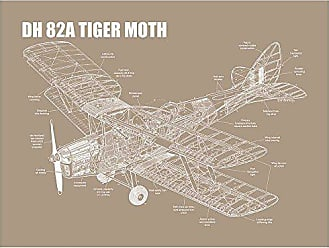 Inked and Screened SP_Avia KR_24_W DH 82A Tiger Moth Print, 18 x 24, Kraft-White Ink