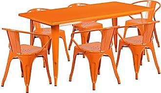 Flash Furniture 31.5 x 63 Rectangular Orange Metal Indoor-Outdoor Table Set with 6 Arm Chairs