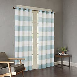 Urban Habitat White Blue Grommet Curtains for Living Room, Mason Striped Window Curtains for Bedroom Family Room, Polyester Semi-Opaque Living Room Curtains, 50X95, 1-Panel Pack