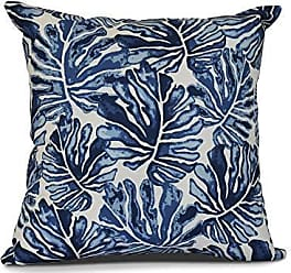 E by Design E by design Palm Leaves Floral Print Pillow, 18 x 18, Blue