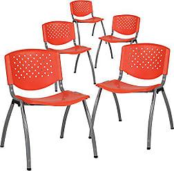 Flash Furniture 5-RUT-F01A-OR-GG Orange Plastic Stack Chairs, 5 Pack