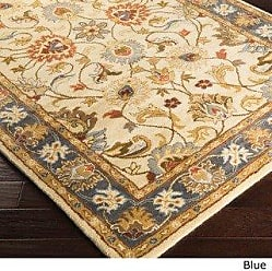 Overstock Hand-tufted Nia Traditional Wool Area Rug (8 x 11) - 8 x 11 (Blue/Ivory)