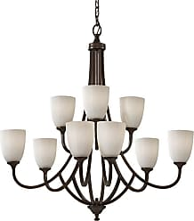 Feiss F2585/6+3HTBZ Perry Chandelier in Heritage Bronze finish with White Opal Etch Glass