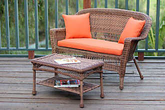 Jeco W00205-LCS016 Wicker Patio Love Seat and Coffee Table Set with Orange Cushion, Honey