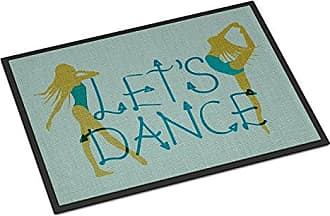 Carolines Treasures Lets Dance Linen Teal Doormat 18 H x 27 W Multicolor