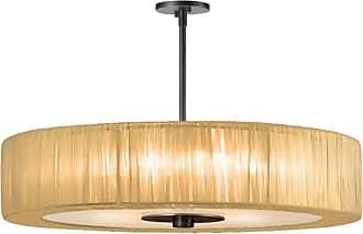 SONNEMAN 6098 Organza Wrap 6 Light Pendant Black Brass with Gold Shade