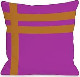 One Bella Casa Meeting Stripes Outdoor Throw Pillow by OBC, 18x 18, Fuchsia/Orange