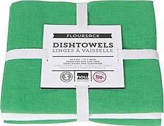 Now Designs 2222614aa Floursack Kitchen Towels, Set of Three, Greenbriar Green/White