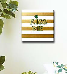 Ready2HangArt Ready2hangart (Kiss Me Canvas Art, (S) H x 16 W, Gold