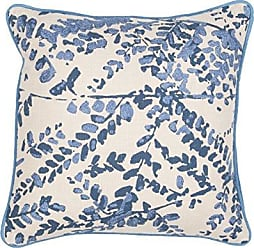 Jaipur Floral Pattern Blue Cotton Polly Fill Pillow, 18-Inch x 18-Inch, Pristine Encasa07