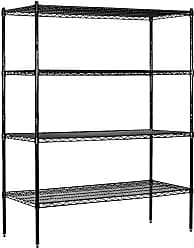 Salsbury Industries Stationary Wire Shelving Unit, 60-Inch Wide by 74-Inch High by 18-Inch Deep, Black