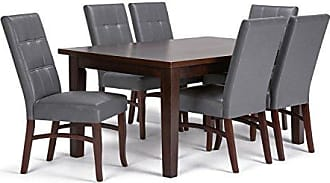 Simpli Home Simpli Home AXCDS7EZ-G Ezra Contemporary 7 Pc Dining Set with 6 Upholstered Dining Chairs and 66 inch Wide Table