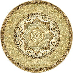 Unique Loom Palace Collection Traditoinal Geometric Classic Cream Round Rug (3 x 3)