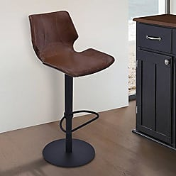 Armen Living LCZUBAVCBL Zuma Swivel Adjustable Barstool in Vintage Coffee Faux Leather and Black Metal Finish