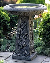 Campania International Cast Stone Lattice Rose Bird Bath - B-072-NA