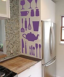 The Decal Guru Kitchen Cooking Utensil Vinyl Decal Stickers - DIY Removable Decor - Spatulas Plates Cups Bowls Wisks Set (Violet, 51x40 inches)