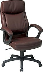 Office Star High Back Thick Padded Contour Seat and Back Eco Leather Executive Chair with Locking Tilt Control with 2-tone Stitching, Mocha
