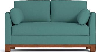 Apt2B Avalon Apartment Size Sleeper Sofa - Leg Finish: Pecan - Sleeper Option: Deluxe Innerspring Mattress - Teal Poly Blend - Sold by Apt2B - Modern C