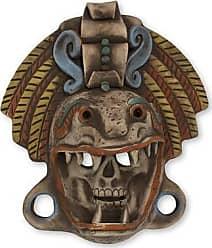 Novica Ceramic mask, Quetzalcoatl Warrior