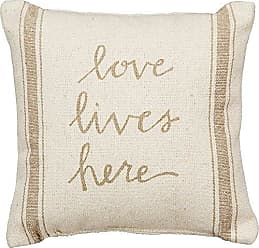 Primitives By Kathy Vintage Flour Sack Style Love Lives Here Throw Pillow, 10-Inch Square