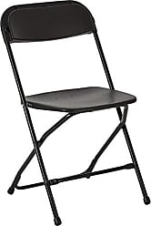 Office Star Plastic Seat and Back Stacking Folding Chairs with Steel Frame, 10 Pack, Black