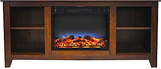 Cambridge Silversmiths CAM6226-1WALLED Santa Monica 63 In. Electric Fireplace & Entertainment Stand in Walnut w/ Multi-Color LED Insert