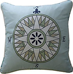 Ellery Homestyles Waverly Kids 16480015X015BLU Buon Viaggio 15-Inch by 15-Inch Embroidered Decorative Accessory Pillow, Blue