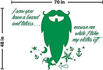 The Decal Guru Beard Funny Quote Wall Decal (Light Green, 48 (H) X 70 (W))