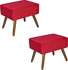 Kaza do Sofá Kit 2 Puffs Decorativos Dubai Suede Vermelho - Kasa Sofá