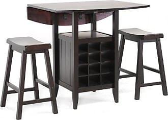 Wholesale Interiors Baxton Studio 3-Piece Reynolds Black Wood Modern Drop-Leaf Pub Set with Wine Rack, 35.875L x 35.875W x 34.875H, Dark Brown